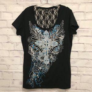 VANITY Black Short Sleeve Lace Top